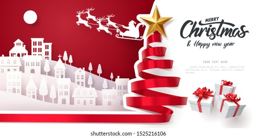 Red ribbon roll to made Christmas tree form with paper art of Santa Claus and Merry Christmas and happy new year calligraphy, vector art and illustration.