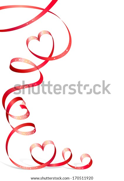 Red ribbon with sequins and with heart-shaped curls for Valentine's Day