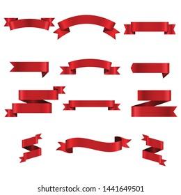 Red Ribbon Set InIsolated For Celebration Banner White Background, Vector Illustration