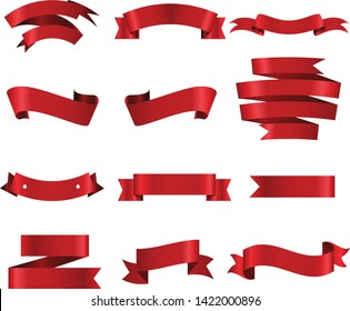 Red Ribbon Set InIsolated White Background, Vector Illustration