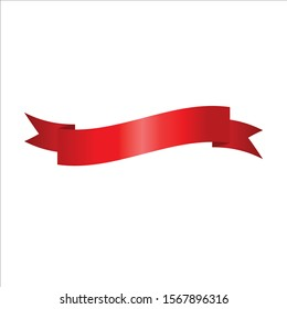 Red Ribbon Set InIsolated White Background, Vector Illustration
