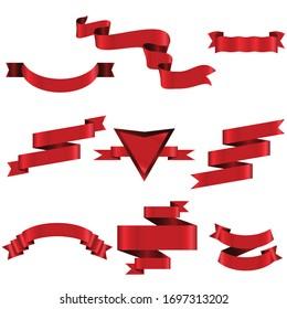 Red Ribbon Set In Isolated Modern design For Celebration Banner White Background, Vector Illustration