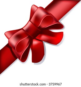 A red ribbon, such as you would present on a gift, a decoration, to your anniversary love...