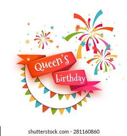 Red ribbon with title for Wueen birthday party. Vector illustration