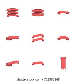Red ribbon vector collection set