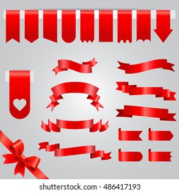 Red Ribbon vector icon set. Collection of red ribbons isolated on white background.