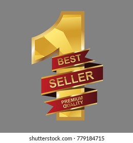 Red ribbon vector. Number 1. Best seller premium quality. Modern polygonal crystal style. Vector gold number design. For poster, greeting card, banner or invitation, promotion marketing.