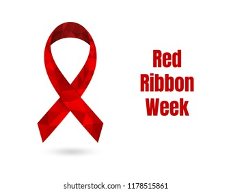 Red Ribbon Week concept with red low poly awareness ribbon. Colorful vector illustration for web and printing.