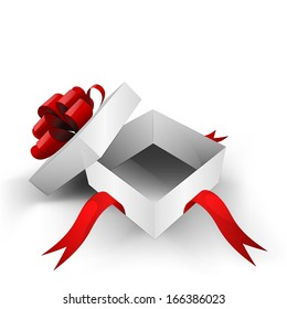 red ribbon wrapped gift empty opened box vector illustration