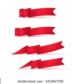Red ribbons banners. Set of advertising signs.