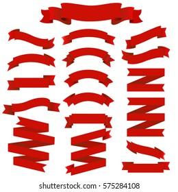 Red Ribbons Big Set, Isolated on Transparent Background, Vector Illustration