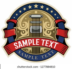 Red ribbons, blue circle with stars and electric guitar on background. Country music logo concept.