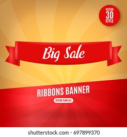 Red ribbons horizontal banner isolated vector illustration