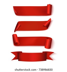 Red Ribbons. Set. Realistic. Vector illustration