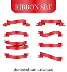 Red ribbons set. Vector design elements isolated on white background. - Vector