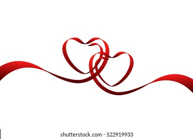 Red ribbons in shape of two hearts for love concept, wedding or Valentine day. Vector illustration isolated on white background.