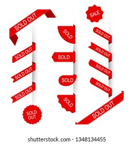 Red ribbons sold out, sold, sale text. Set of vector ribbons, stickers, tags, label, badge, banners. Collection of various templates stickers. Iisolated white background.