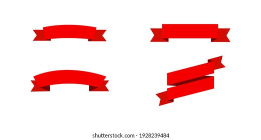 Red Ribbons template. Ribbons Banners in simple flat design. Ribbons Banners, isolated. Red tapes. Vector illustration