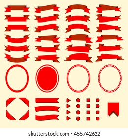 Red ribbons and web elements vectorial set