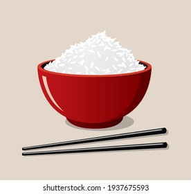Red rice bowl and black chopsticks icon on a blackish cream background. Catoon style food for restaurant.