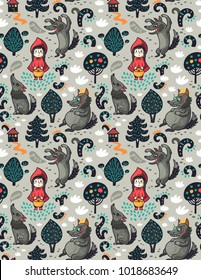 Red riding hood and the gray wolf seamless pattern in cartoon style. Vector illustration