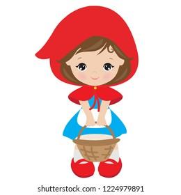 Red riding hood vector cartoon illustration