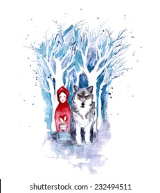 Red Riding Hood. Watercolor fairytale illustration with little girl and wolf in dark snow forest. Vector