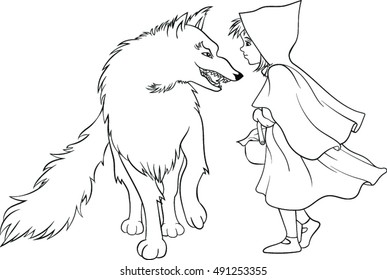Red Riding Hood and Wolf - Vector Illustration