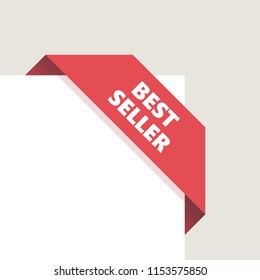 Red right top corner Tag, Ribbon with shadow. Vector Illustration. Best seller