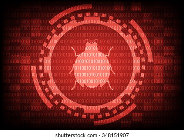 Red of ring and gears with malware bug a computer virus inside on binary code background.Vector illustration security technology concept.