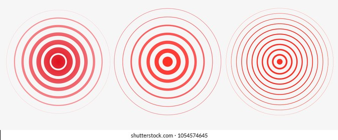 Red rings. Pain circle. Symbol of pain. Red concentric stomach pain.For your medical design. Transparent background Vector template illustration.