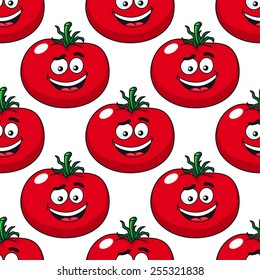 Red ripe tomato seamless pattern in cartoon style with repeated motif of pulpy vegetables on white background for food pack or textile design