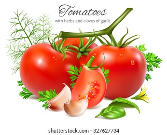 Red ripe tomatoes with herbs and garlic. Vector illustration
