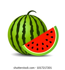 Red ripe watermelon vector icon isolated on white background