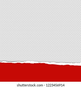 Red Ripped Paper Transparent Background With Gradient Mesh, Vector Illustration