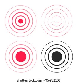 Red ripple rings sound waves icons set, line circle gradient, radio signal black and white lines with big point in center, water drop waves, epicenter element design isolated on white background