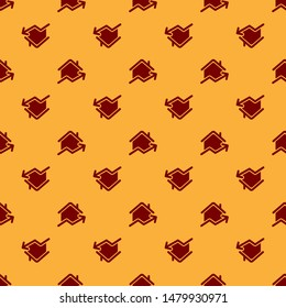 Red Rising cost of housing icon isolated seamless pattern on brown background. Rising price of real estate. Residential graph increases.  Vector Illustration