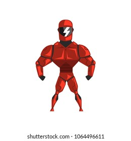 Red robot spacesuit, superhero, cyborg costume vector Illustration on a white background