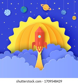 Red rocket launch in space in paper cut style. Galaxy universe landscape 3d craft background. Cardboard cutout planet with craters, Earth, Sun, Saturn, Jupiter, Neptune, Mars on rope. Vector kids card