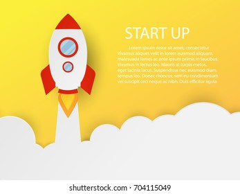 red rocket paper cut with clound on yellow background with copy space for text,start up concept.