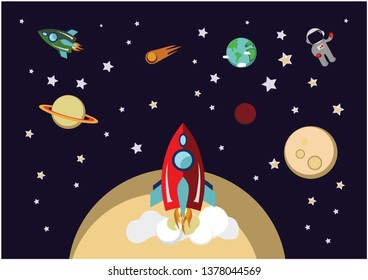 red rocket in space. cosmic world