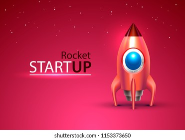 Red rocket start up space toy on the blue background. Vector illustration