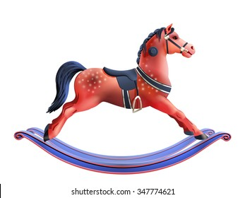 Red rocking horse kids toy realistic isolated on white background vector illustration