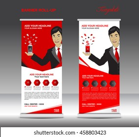 Red Roll up banner  template and Business Man, Mobile infographics, stand display advertisement vector