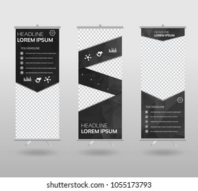 Red Roll Up Banner template and info graphics stand design, advertisement, display, business flyer, polygon background. vector illustration.
