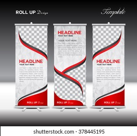 Red Roll Up Banner template vector illustration,polygon background ,standy design , display,advertisement