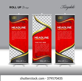 Red Roll Up Banner template vector illustration, polygon background, standy ,display, advertisement, flyer design