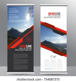 Red roll up business brochure flyer banner design vertical template vector, cover presentation abstract geometric background, modern publication x-banner and flag-banner,carpet design