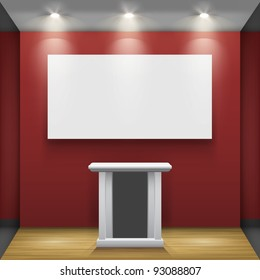Red room with tribune and white frame on the wall, illuminated by floodlights. Part of set. Vector interiors.
