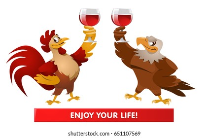 Red Rooster and American Bald eagle giving a toast. Cheers. Greeting. Celebrations. Cartoon styled vector illustration. Elements is grouped and divided into layers.